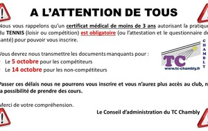 ATTENTION CERTIFICAT MEDICAL